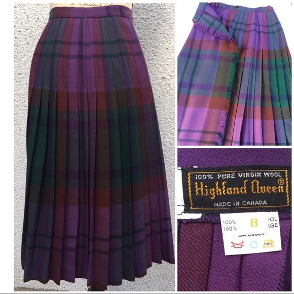 41de2b6ce1 Highland Queen Dresses & Skirts - Highland Queen Pleated Midi Wool Skirt  Size 8